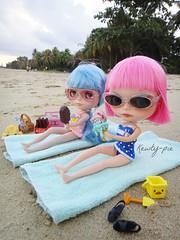 At the beach....enjoying some ice cream!
