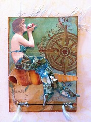 """NERISSA"" (born 2 b creative) Tags: art atc aqua mixedmedia shell swap nerissa mermaid trade 2012 creations willowing"