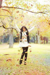 Dancing with leaves. (Yuri Figuenick) Tags: autumn portrait woman sexy art nature girl leaves fashion collage fairytale photoshop canon asian fun eos fly pastel floating levitation float asianbeauty