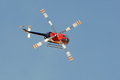 Red Bull Helicopter (linda m bell) Tags: california aircraft airshow helicopter socal lancaster redbull aerobatics foxfield 2014 losangelescounty chuckaaron n154eh williamjfoxairfield