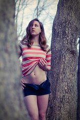 Nature - Sunset 3 (ltgustin) Tags: portrait woman sexy nature girl beautiful 35mm pose outdoors model nikon skin body stripes gorgeous posing stomach belly shorts 5100 abs unbuttoned
