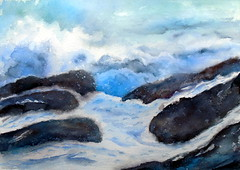 Rocks and sea, by Vnia F. - DSC03064 (Dona Mincia) Tags: sea sky seascape art rock watercolor painting paper landscape mar arte wave paisagem cu study pedra pintura rocha onda aquarela