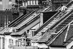 Up on the Roof (JB_1984) Tags: uk roof chimney england people blackandwhite bw house men london rooftop mono workmen unitedkingdom housing hounslow roofer londonboroughofhounslow hounslowcentralundergroundstation