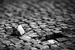 Another brick on the ground (One_Penny) Tags: travel urban blackandwhite white abstract black brick texture monochrome stone photography pattern dof hole prague prag ground praha tschechien minimal depthoffield czechrepublic canon6d