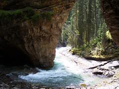 Under the falls at Johnston Canyon (bmay4real) Tags: canada waterfall hiking hike alberta johnstoncanyon