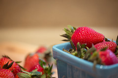 Snack Attack. (Angela.Dee) Tags: blue red macro fruit canon strawberry dof bokeh bowl 100mm 6d 100mml cy365
