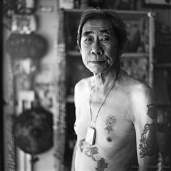 Yeo's Tattoo, Kuching Sarawak - Borneo (P_mod) Tags: blackandwhite white black film tattoo ink square hasselblad borneo iban pmod