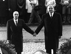 President Mitterand and Chancellor Kohl hold hands at a commemoration of the Battle of Verdun. [1024x783] #HistoryPorn #history #retro http://ift.tt/1RDnP7S (Histolines) Tags: history hands president battle retro timeline chancellor hold kohl commemoration verdun vinatage mitterand historyporn histolines 1024x783 httpifttt1rdnp7s