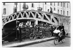 The stone bridge (corrad) Tags: bridge blackandwhite milan film 35mm naviglio nikkormat