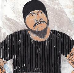 # 173 (21-06-2016) (h e r m a n) Tags: herman illustratie tekening bock oosterhout zwembad 10x10cm 3651tekenevent tegeltje drawing illustration karton carton cardboard portrait portret male man drummer