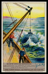Liebig Tradecard S1360 - Launching the Bathysphere (cigcardpix) Tags: tradecards liebig advertising ephemera vintage