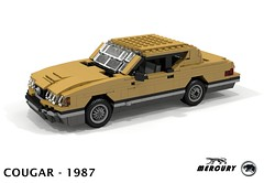 Mercury Cougar XR-7 Coupe 1987 (lego911) Tags: mercury cougar xr7 v8 coupe 1987 1980s ford motor company auto car moc model miniland lego lego911 ldd render cad povray lugnuts challenge 104 thescienceofitall science all planet speed foitsop