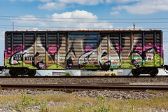 (o texano) Tags: bench graffiti texas houston trains awal freights wholecar benching