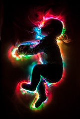 Elias (FDU4) Tags: longexposure light boy sleeping baby lightpainting black color beautiful silhouette vertical night dark painting rainbow colorful child spectrum sweet sleep dream son indoor symmetry led human lovely v24