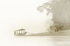 lost in the amazon mist (gruntpig) Tags: people mist peru southamerica water fog sepia river lost boat stand sand amazon tourist tourists hidden sandbank amazonbasin