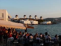 best place in Mykonos (duqueıros) Tags: sunset windmill bar island sonnenuntergang menschen insel peoples greece griechenland mykonos windmühle mühlen duqueiros