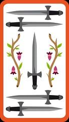 5 d'Épée (aluniverse) Tags: bâtons coupes épées deniers tarotdemarseille arcanesmineurs arcanemineur 56cartes