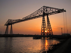 The Tees Transporter Bridge at Sunset. (paul downing) Tags: sunset canon spring middlesbrough teesside pdp transporterbridge rivertees portclarence pd1001 sx10is pauldowning