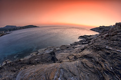 Sunrise in Mars (Kostas Petropoulos Images) Tags: longexposure light red sea sky mars sun seascape water night photoshop sunrise wonderful landscape interestingness interesting nikon rocks europe perspective aegean hellas athens explore greece planet gr hdr thalassa attica fisheyelens travelphotography attiki aegeansea  beautifulphoto explored   amazingimage d5100 samyang8mm daskaleio nikond5100 kakithalassa sunriseinmars