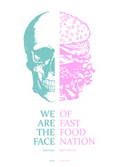 fast food nation (ga3lle) Tags: pink blue food color green face rose illustration skull design graphicdesign graphic crane burger fastfood nation fast vert bleu hamburger use skip couleur gaelle ga3lle taburiaux httpga3lletumblrcom