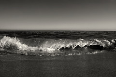 the ocean (Jenna Pinkham) Tags: ocean california blackandwhite santacruz beach pacific wave highspeed seabright