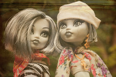Landship Pirates: Twin Captains (BohemianDolls) Tags: old blackandwhite sisters vintage toy dangerous twins doll antique pirates ripped frankie photograph figure land torn grayscale rogue damaged mh stein wrecked scruffy ruin
