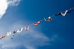 (novalty) Tags: blue sky colour clouds iceland nikon bra rope reykjavk clothespin