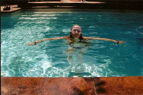 blue summer film pool girl swimming goggles