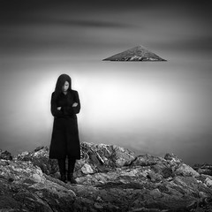 me and my secret island (Julia-Anna Gospodarou) Tags: longexposure sea people bw woman selfportrait seascape me island nikon rocks moody athens sp le tamron 2012 hoya darksky portorafti nd400 blackcoat manfrotto055xprob streaksofclouds bw106 nikond7000 juliaannagospodarou siruik20x gospodarou tamronaf18270mm3563pzd