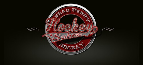 A vintage logo of Brad Perry Hockey Schools