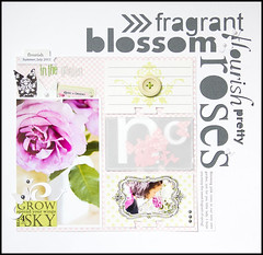 In the Garden - challenge layout 1 (Cindy Liebel) Tags: flowers garden scrapbook cameo layouts diecuts