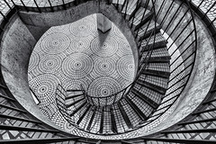 Embarcadero Stairs 2 (StefanB) Tags: sanfrancisco bw monochrome architecture stairs study embarcadero geotag 2012 em5 shapesstudy 918mm flvonmirikr