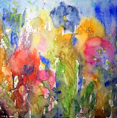Art: watercolour contemporary: ...Enjoy Beauties of Nature... (Nadia Minic) Tags: pink flowers blue red orange brown green nature beauty yellow painting contemporary joy poetic poppy watercolour colourful luxembourg contemporarypainting protect coquelicot klatschmohn watercolournadiaminic 201208at