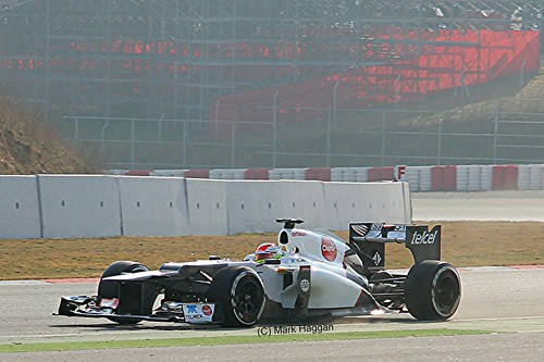 Sergio Perez in his Sauber  in Winter Testing, Circuit de Catalunya, March 2012