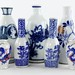 315. Group of Blue & White Porcelain Cabinet Vases & Sake Bottles