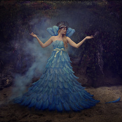 Coronation of the Bluebird Queen (trini61) Tags: blue girl fashion dress smoke feathers royal queen crown monarchy regal majesty lesbrumestextures trinischultz