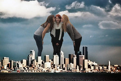 Three Lesbian mega Giantesses (misterwerder) Tags: city two hot sexy feet collage sex sisters skyscraper lesbian amazon kissing legs boots sister destruction goddess young picture teen taller porn multiple tall titanic dominance bigger slaves slave mega giantess gts dominant giga