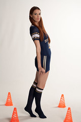 Jessica (LMP Fashion & Lifestyle) Tags: red woman hot cute sexy feet sports girl fashion socks hair football model dress skirt redhead barefoot cheer stocking cheerleader pigtails sockfeet