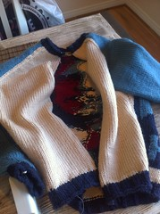 Sweater Surgery (iwriteplays) Tags: sweater obama cardigan 2012 steeking knittingblog obamarama