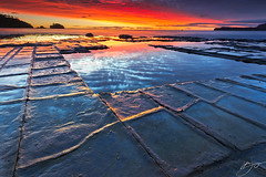 Fractured (hillsee) Tags: light seascape reflections rocks tasmania tessellatedpavement tasmanpeninsular