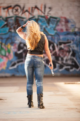 AG 5 (Steven Parks) Tags: woman female outside boots jeans blonde poses leathervest tuffgirl sparksphotography