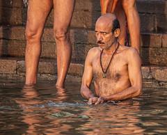Sunlit Bathing (Rachel Dunsdon) Tags: india sunrise varanasi bathing sunlit inindia2014