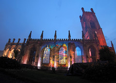 St Luke's Blitz Memorial (.annajane) Tags: uk light england liverpool memorial dragon chinesenewyear fisheye projection blitz 9mm merseyside projections commemoration liverpoolcathedral stlukeschurch bombedoutchurch outofthedarkness mayblitz