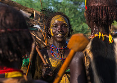 Dassanech tribe women during dimi ceremony to celebrate circumcision of teenagers, Omo valley, Omorate, Ethiopia (Eric Lafforgue) Tags: africa people woman black color horizontal outdoors monkey necklace women day african ceremony makeup tribal dime bead omovalley stick ethiopia tribe circumcision hairstyle colobus adultsonly dimi oneperson hornofafrica eastafrica animalskin abyssinia braidedhair traditionalclothing beadednecklace lookingatcamera omorate 1people indigenousculture geleb beadednecklaces dassanech africantribe traditionalceremony initiationceremony dassanetch daasanech dassanach dimiceremony monkeyskin ethio162650