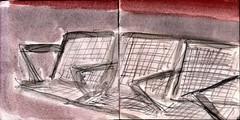 whrend sie auf die U-Bahn warteten gingen ihnen allerlei Gedanken durch den Kopf (raumoberbayern) Tags: city winter bus fall pencil paper munich mnchen landscape herbst tram sketchbook stadt papier landschaft bleistift robbbilder skizzenbuch strasenbahn