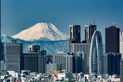 Fuji and Shinjuku skyscrapers (shinichiro*_back) Tags: 20160121dsc0038 2016 crazyshin nikon1v3 v3 1nikkorvr70300mmf4556     fuji tokyo japan  january winter  candidate