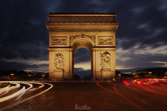 Arc de Triomphe, Champs Elyses - Paris, France (mario.valeira) Tags: city blue light red white paris france history love water seine museum architecture night river army lights europe cityscape arch peace place nightscape napoleon historical tribute champselyses parisian