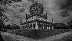 Tombs of Elite (pavankoduru) Tags: morning blackandwhite monument monochrome clouds hyderabad tombs hdr shahi incredibleindia 7tombs qtuub