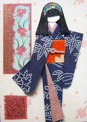ATC935 - Indigo beauty 2 (tengds) Tags: flowers blue atc indigo geisha kimono obi papercraft japanesepaper washi ningyo handmadecard chiyogami japanesepaperdoll nailsticker origamidoll tengds indigowashi