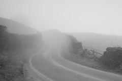 aperature (<<mark>>) Tags: road trees blackandwhite monochrome fog wall mystery clouds sunrise shadows eerie hills shroud outline vague
